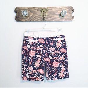 Anthro Leifsdottir Floral Shorts Navy Blue Sz 4